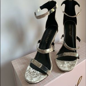 Chase + Chloe silver velour sandals